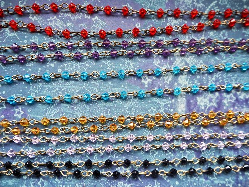 ONE METER 5x7mm Bicone Glass Beads Beaded Rosary Chain with Antique Bronze Links in Choice of Colors