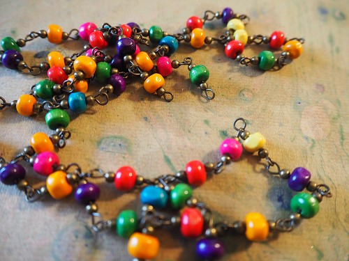 ONE METER 5x6mm Rondelle Wood and 3mm Brass Bead Beaded Rosary Chain with Antique Bronze Links in Your Choice of Colors