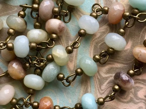 ONE METER Natural Faceted Amazonite Abacus Beads Rosary Necklace Chains with Antique Bronze Beads and Links