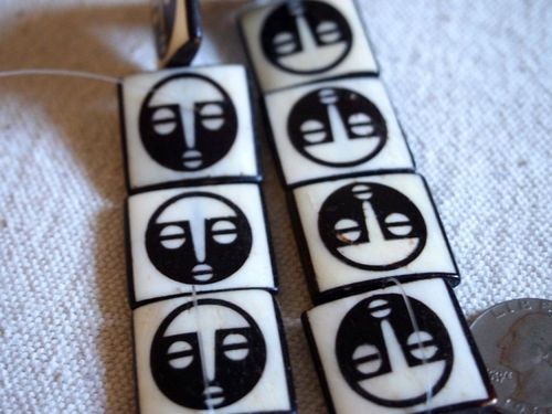 8 Larger African Mask Batik Bone Beads Framed Ebony on Ivory