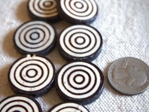 Adinkrahene Adinkra Large 25mm Bone Batik Coin Beads
