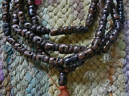 108 Dark skull bone mala 10x15mm skull beads necklace