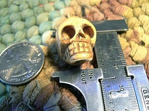 Handcarved Bone Skull Bead 15x22mm