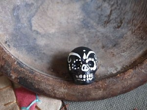 Large Black and White Painted Day of the Dead Skull Bead