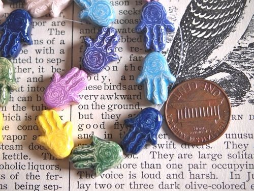 Teenie Tiny Porcelain Ceramic Hamsa Hand Bead in Assorted Colors
