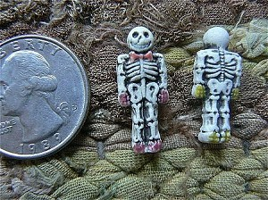 Grinning Tiny Ceramic Skeleton Bead