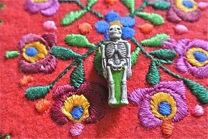 Ceramic:  Multi colored glazed skeleton beads