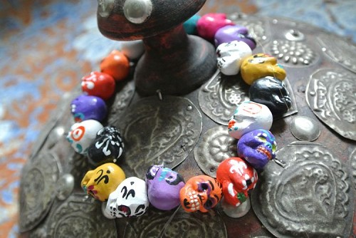 Teenie Tiny Painted Day of the Dead Skull Beads Assorted