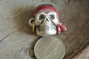 Handpainted and Glazed Large Ceramic Pirate skull bead
