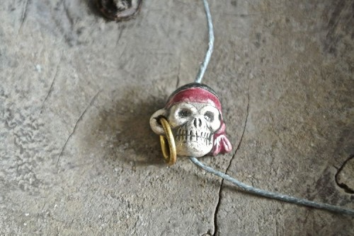 Handpainted and Glazed Small Pirate skull bead