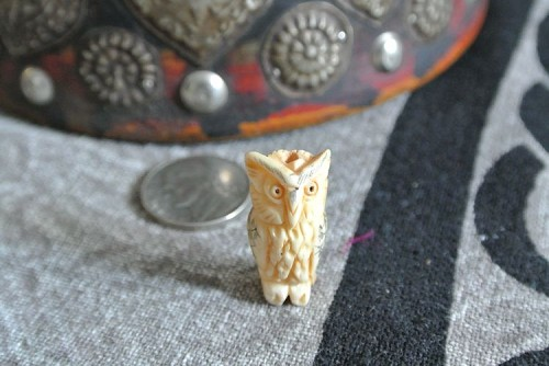 Handcarved bone owl bead with scrimshaw