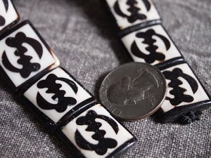 Smaller Adinkra Gye Nyame Batik Bone Beads Framed Ebony on Ivory