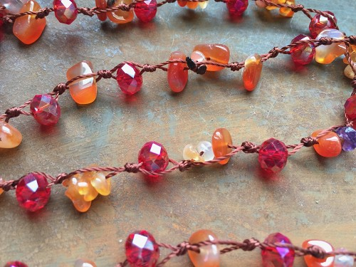 34.6 inch Semi-Precious Gemstone Chip Beads Knotted With Faceted Glass Beads Necklace-Six Choices