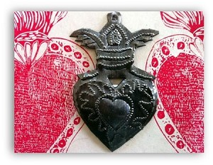 Haitian Milagro Heart Ornament with Wings