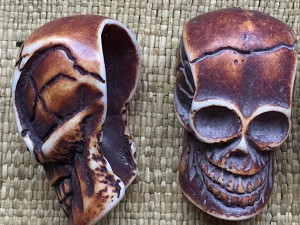 Large Antique Brown 37mm Resin Skull Bead
