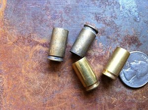 4 Used Brass Shell Casings 9mm