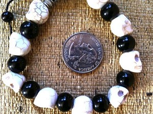Adjustable White Howlite Skull Bracelet