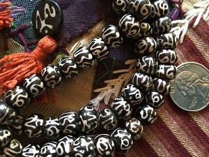108 dark bone 8-9mm rondelle bead Tibetan handpainted OM mala