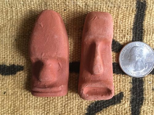 Vintage Red Clay Easter Island Moai Head Pendant