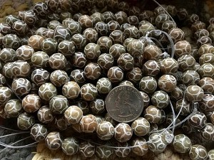 Antique Jade Carved Round Beads 12mm Darker Earthtones