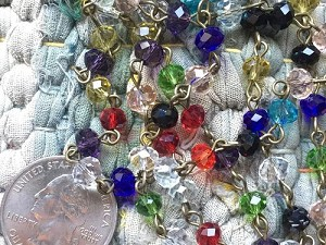 ONE METER Jeweltone Faceted Abacus Glass Beaded Rosary Chain with Antique Bronze Links