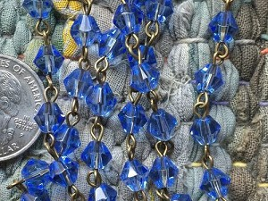 ONE METER Blue Bicone Glass Beads Beaded Rosary Chain with Antique Bronze Links