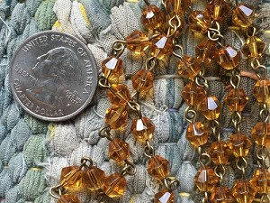 ONE METER Amber Bicone Glass Beads Beaded Rosary Chain with Antique Bronze Links