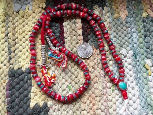 108 Tibetan red bone mala 8X9mm rondelle beads with inlays
