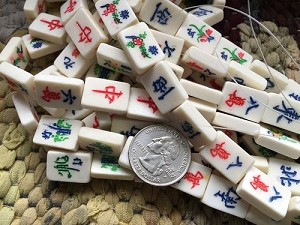 Bone Mah Jong Tile Bead Medium 12 Bead Strand