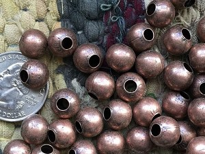 Bulk Wholesale Supplies 10mm Nickel Free Copper Round Beads with Large 4mm Hole 50 Pieces