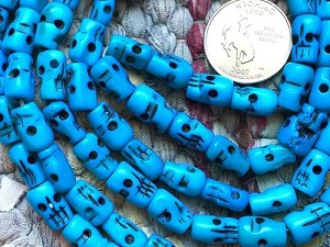 108 Carved 8x12mm Dyed Turquoise Bone Skull Bead Mala