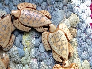 Large 30x40mm Bone Sea Turtle Scrimshaw Bead