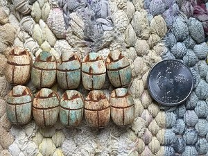 10 Egyptian Faience Scarab Beads Matte Blue Green and Brown