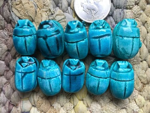 10 14-16x22mm Egyptian Faience Scarab Beads Glazed Turquoise Blue