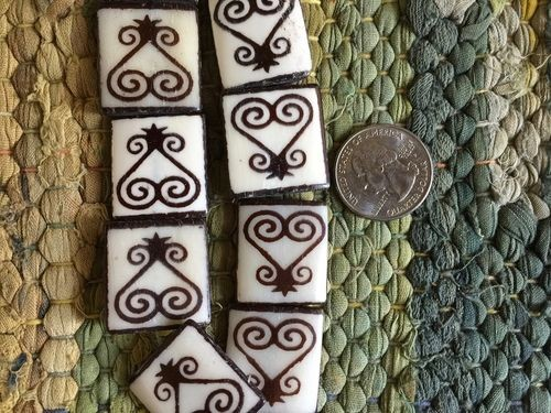 23x25mm Larger Bone Batik Adinkra Sankofa Heart Batik Beads Framed Ebony on Ivory