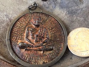Extra-Large Famous Monk Buddha Metal-Framed Amulet with Hanging Loop