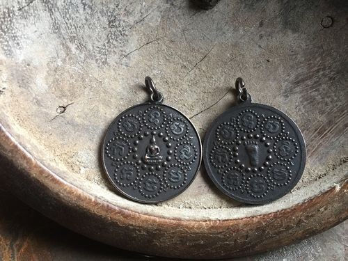 Thai Buddha's Footprint Round 28mm Coin Amulet with Black Patina