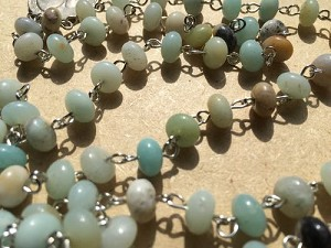 ONE METER Natural Amazonite Rondelle Beads Rosary Necklace Chains with Silver Links