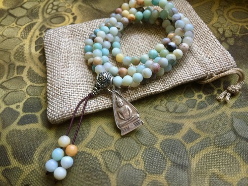 Amazonite Wrap Mala Bracelet or Necklace with Buddha Amulet and Gift Pouch 28 inches