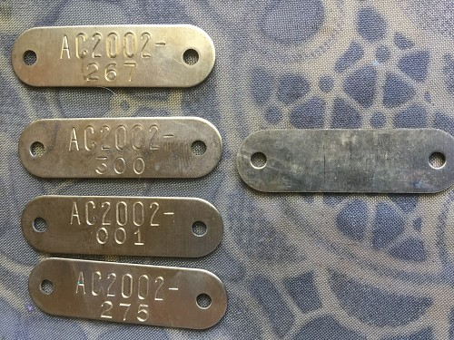 Package of Five Vintage Brass Tool Tags with Two Holes