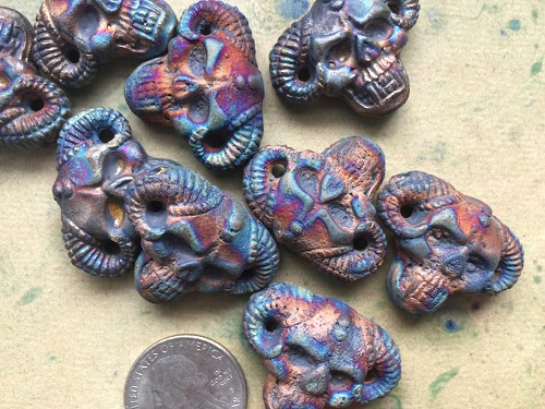 Iridescent Large Matte Raku Ceramic Horned Skull Bead