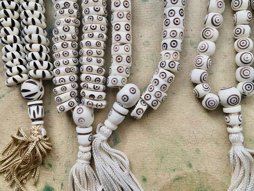 108 Carved Beads White Bone Handcarved Mala Strand with Dark Brown Markings-Your Choice of Design