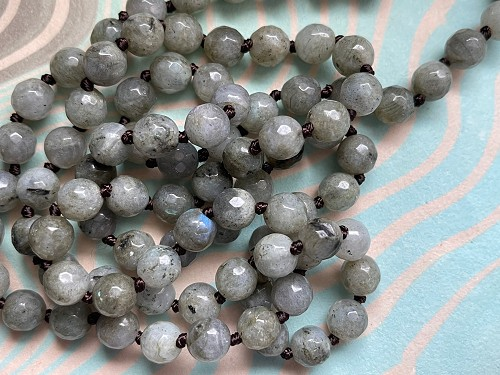 Gorgeous Continuous Loop Knotted 8mm Faceted Labradorite Bead Necklace 35.4 Inches Long