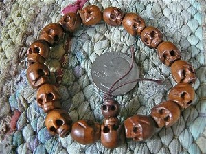 11x13mm wood skull bead mala bracelet