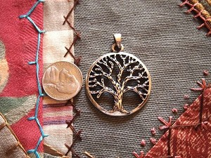 Antique Silver Tree of Life Pendant Charm 35mm Open