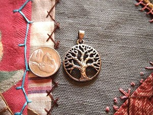 Antique Silver Tree of Life Pendant Charm 25mm Open