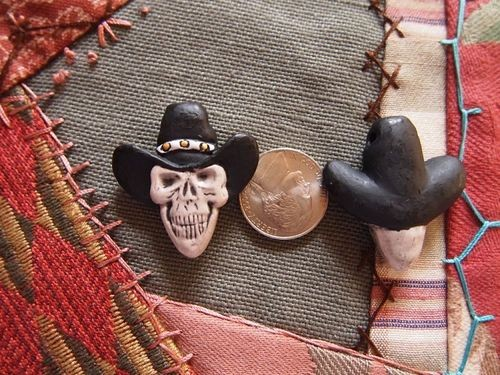 Porcelain Ceramic Cowboy Skull Bead with Hat
