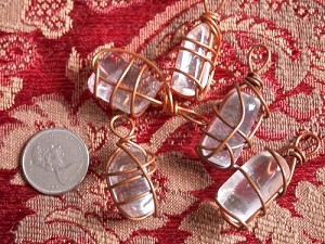 Copper Wire Wrapped Glass Nugget Pendant