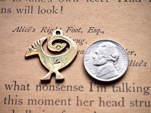 Brass Adinkra Sankofa Bird Charm or Pendant 27mm