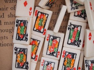 Bone: 2 Sided Poker Playing Card Tile Beads - Vertical Drill